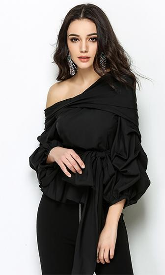 All Time High Long Sleeve Ruffle Pattern One Shoulder Bow Tie Blouse Top - 3 Colors Available - Sold Out