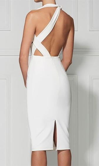 Tough Luck White Sleeveless Cut Out Asymmetric Halter Bodycon Midi Dress