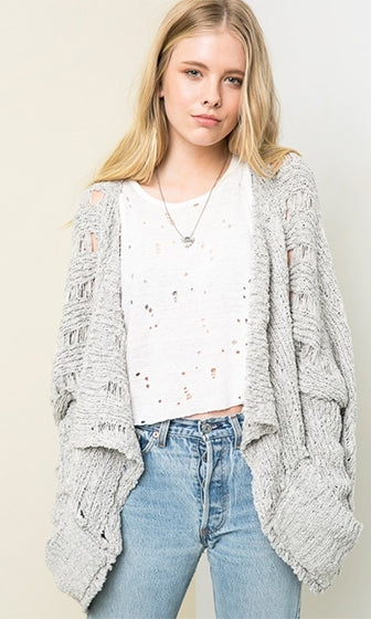 Kickin' Back Long Sleeve Open Front Waterfall Pocket Cardigan Sweater - 2 Colors Available