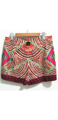 Orange Black White Pink Green Blue Red Geometric Zip Back Shorts - Sold Out