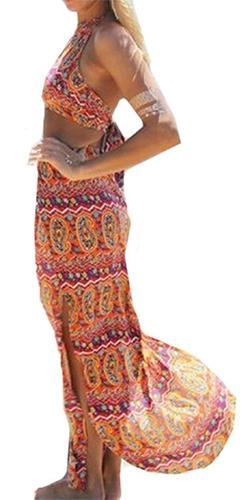 Island Fantasy Orange Purple Green White Paisley Sleeveless Crop Backless Halter Slit Skirt Two Piece Maxi Dress - Sold out