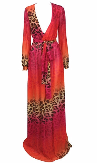 Miami Nights Orange Fuchsia Brown Beige Leopard Print Long Sleeve Cross Wrap V Neck Maxi Dress - Sold Out