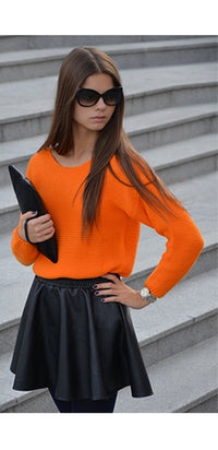 Orange Long Sleeve Scoop Neck Textured Knit Pullover Sweater  - Sold Out