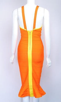 Long Time Coming Orange Yellow Sleeveless Cut Out V Neck Ruffle Trim Bodycon Bandage Midi Dress - Sold Out