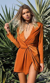 Tie The Knot Burnt Orange Satin Long Sleeve V Neck Twist Knot Mini Dress - Sold Out