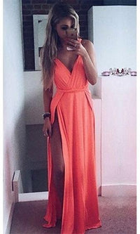 Top Model Bright Orange Sleeveless Plunge V Neck Double Thigh Slit Maxi Dress - Sold Out