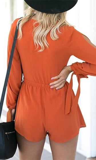 Game On Orange Long Sleeve Plunge V Neck Tie Front Cut Out Short Romper Playsuit - Sold Out