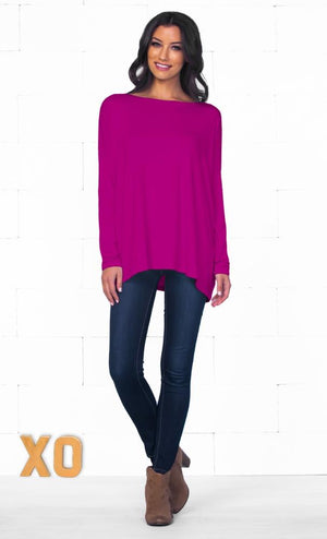 Piko 1988 Orchid Fuchsia Purple Bamboo Piko Comfy Boat Neck Long Sleeve Slouchy Basic Knit Tee Shirt Top
