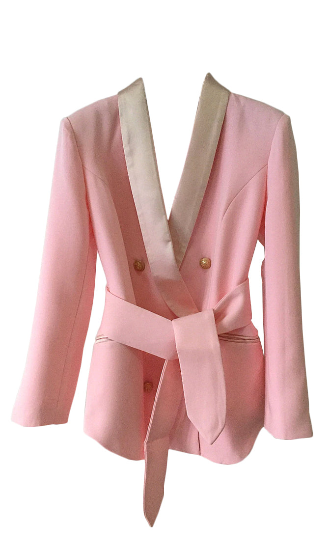 Classy Act Long Sleeve V Neck Sash Tie Belt Button Blazer Jacket Outerwear - 3 Colors Available