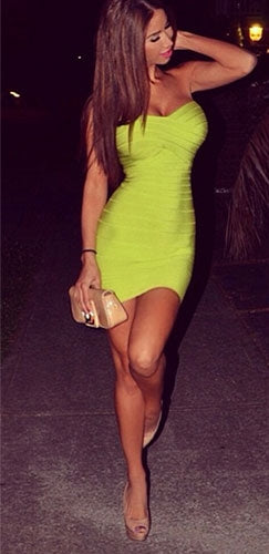 Neon Lime Green Bandage Style Sweetheart Neck Strapless Body Con Fitted Mini Dress