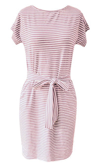 Boardwalk Stroll Horizontal Stripe Pattern Short Dolman Sleeve Round Neck Tie Waist Casual Mini Dress - 4 Colors Available - Sold Out