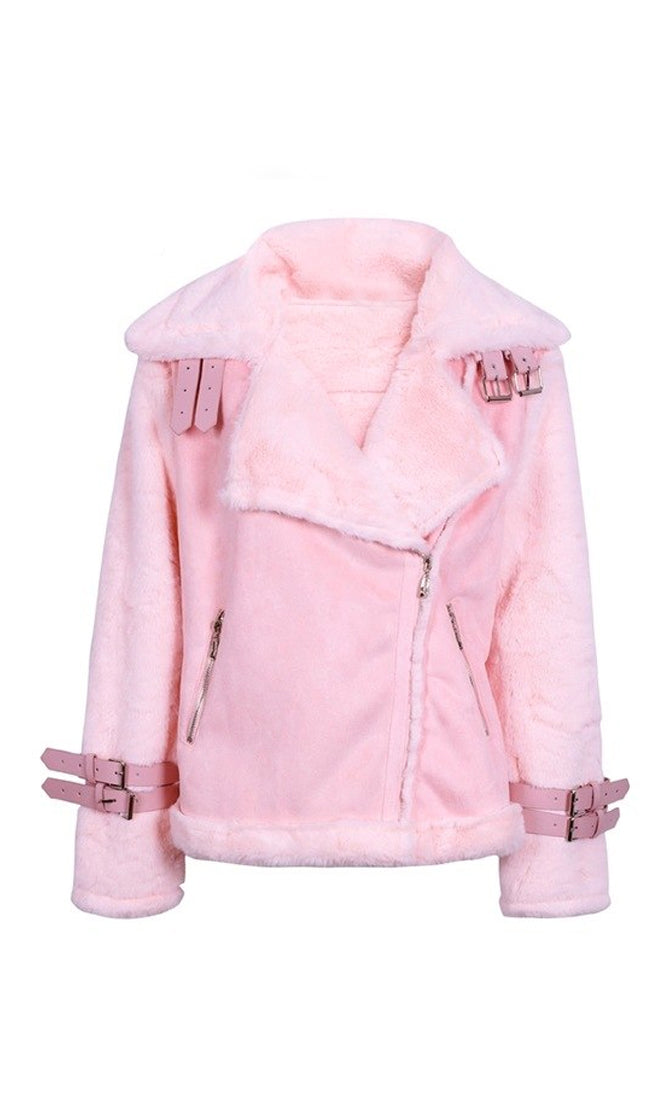 Chilly Moments Faux Suede Faux Fur Long Sleeve Motorcycle Asymmetric Zip Buckle Coat Outerwear