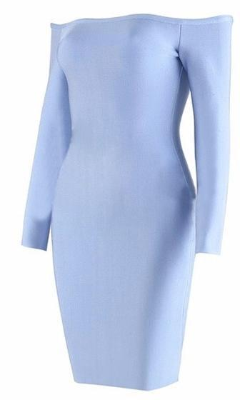 Keep Dreaming Light Blue Long Sleeve Off The Shoulder Bodycon Bandage Mini Dress