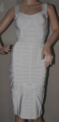 For A Thousand Years White Sleeveless Bustier V Neck Bodycon Bandage Midi Dress - Sold Out