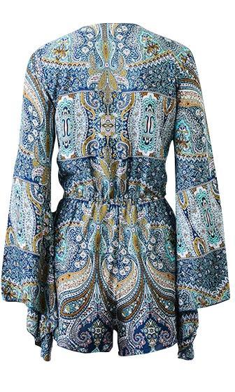 Always Be True Paisley Floral Long Bell Sleeve Tie V Neck Cut Out Waist Romper - Sold Out