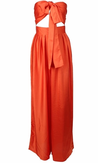 Indie XO In The Lead Nude Strapless Tie Front High Waist Palazzo Pant - Sold Out