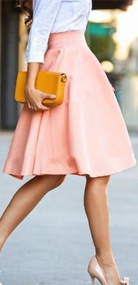 Peach Pink Pleated Circle A Line Flare Midi Skirt - Sold Out