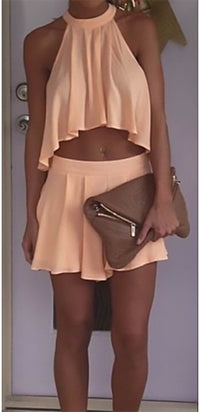 Need Your Touch Peach Sleeveless Halter Pleated Tie Neck Crop Top Loose Shorts Two Piece Romper - Sold Out