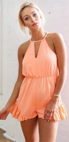 Peaches And Cream Peach Sleeveless Cut Out Halter Ruffle Trim Short Romper - Sold Out