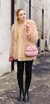 Peach Shaggy Faux Fur Scoop Neck Long Sleeve Hairy Jacket Coat - As Seen on Kayture - Sold Out