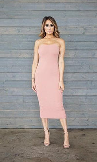 First Heartbreak Peach Strapless Bodycon Midi Dress - Sold Out