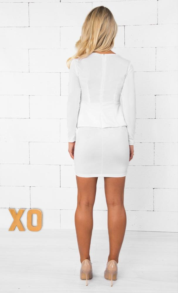 Indie XO Let's Get Down to Business White Long Sleeve Deep V Neck Peplum Bodycon Midi Dress - Just Ours! - Sold Out