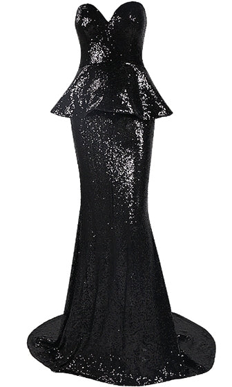 Talk Of The Town Black Peplum Sequin Strapless Sweetheart Maxi Dress