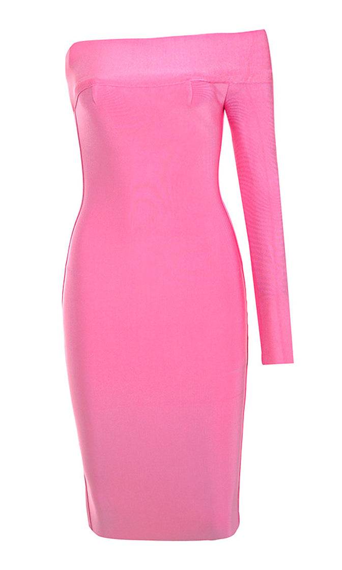 Strike a Pose Pink Off Shoulder Asymmetric One Long Sleeve Square Neck Bandage Bodycon Midi Dress