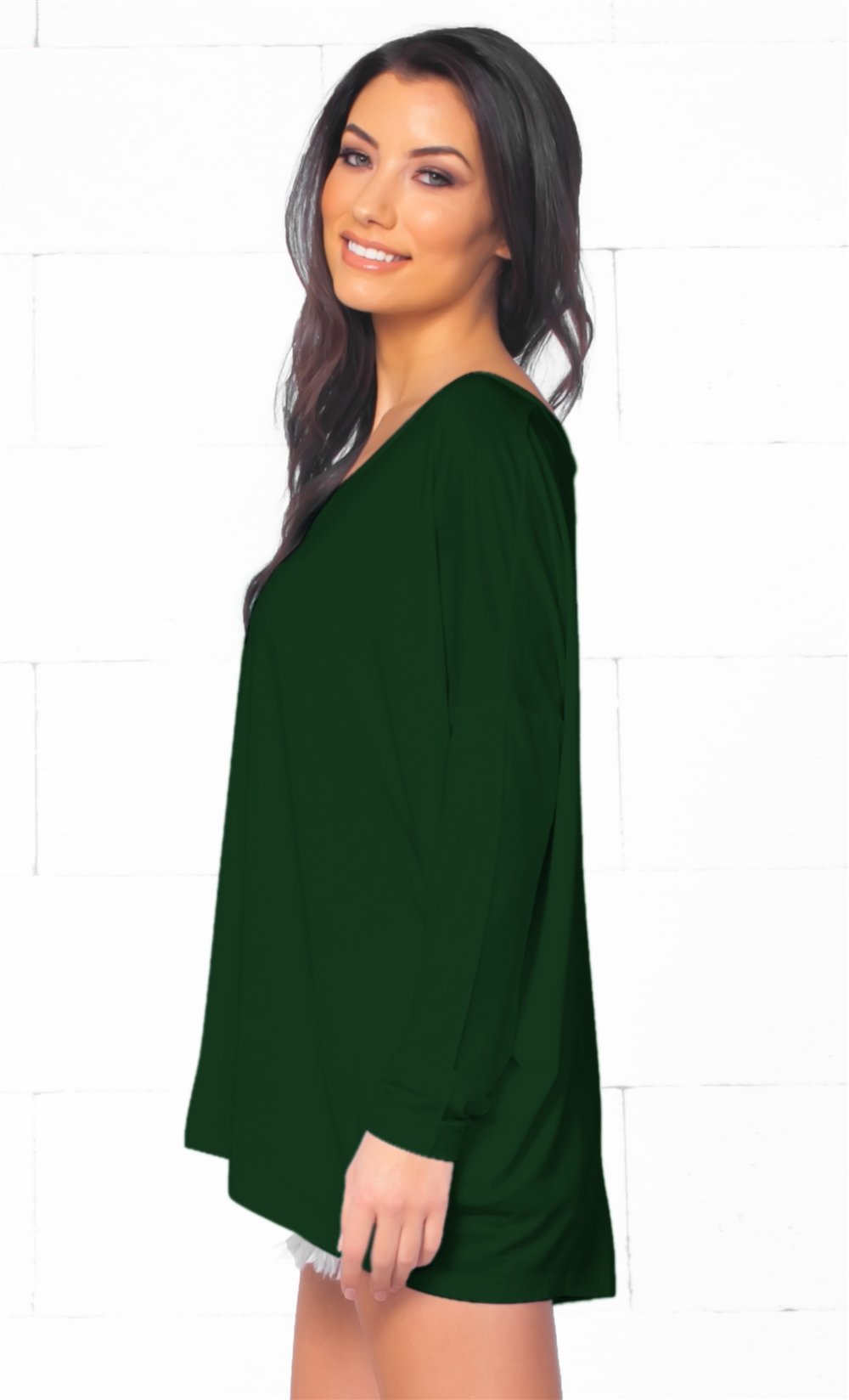 Piko 1988 Christmas Tree Holiday Dark Green Long Dolman Sleeve V Neck Piko Bamboo Basic Loose Tunic Tee Top - Limited Edition