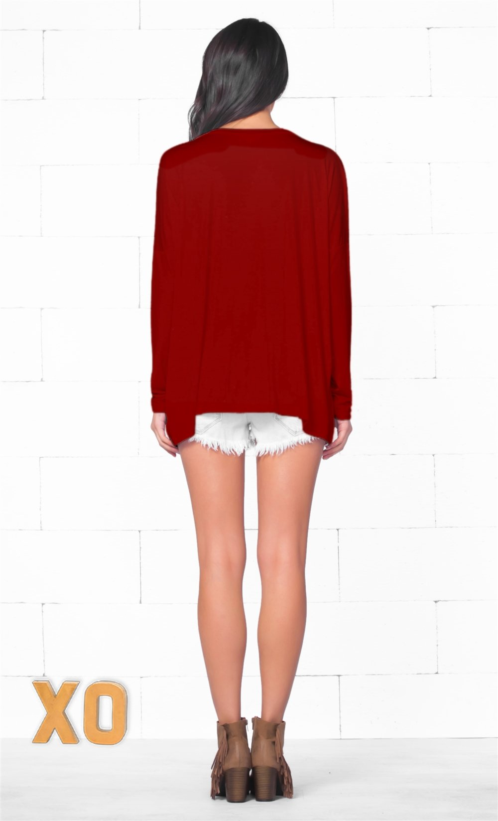 Piko 1988 Christmas Holiday Bright Red Long Dolman Sleeve V Neck Piko Bamboo Basic Loose Tunic Tee Top - Limited Edition