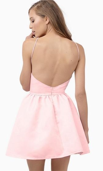 On My Way Pink Spaghetti Strap Square Neck Halter Backless Skater Circle A Line Flare Mini Dress - Sold Out