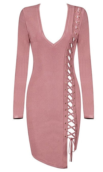 Into You Pink Long Sleeve V Neck Cut Out Lace Up Bodycon Bandage Mini Dress