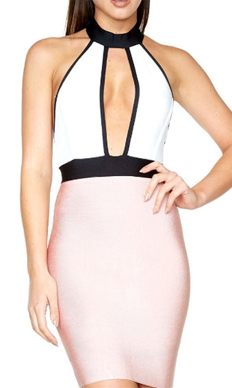 Enjoy The Show Pink White Black Sleeveless Mock Neck Halter Cut Out Plunge V Neck Bandage Bodycon Mini Dress - Sold Out
