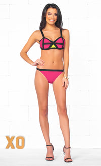 Indie XO My Private Island Bandage Hot Pink Black Yellow Color Block Bra Top High Cut Two Piece Bikini Swimsuit - Just Ours! - Sold Out