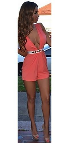 Pink White Sleeveless Plunge V Neck Belted Sexy Short Romper - Sold Out
