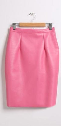 Pink Black PU Faux Leather High Waist Back Slit Pencil Midi Skirt - Sold Out