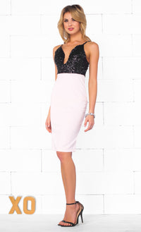 Indie XO Pure Hollywood Black Light Pink Sequin Spaghetti Strap Plunge V Neck Bodycon Mini Dress - Just Ours - Sold Out