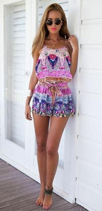 Down By The River Pink White Blue Beige Green Floral Boho Spaghetti Strap Scoop Neck Tie Waist Short Romper - Sold out