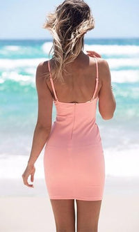Sun Kissed Pink Spaghetti Strap Plunge V Neck Cut Out Side Bodycon Mini Dress- Sold Out