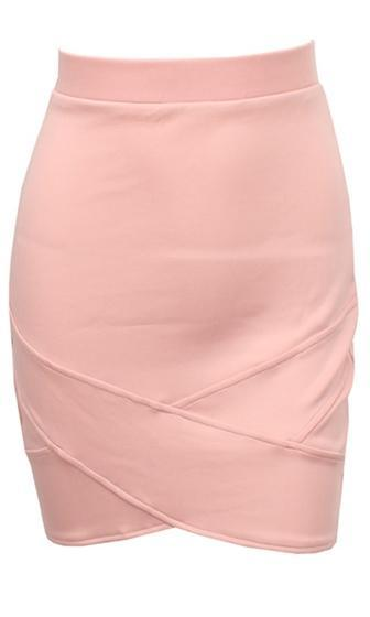 Next Step Pink Cross Wrap Tulip Hem Bodycon Mini Skirt - Sold Out