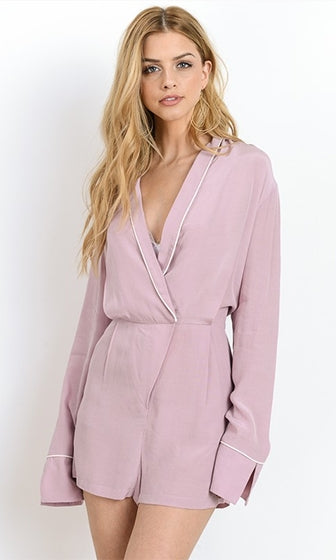 Pajama Party Pink Long Sleeve Cross Wrap V Neck Romper Playsuit - Sold Out