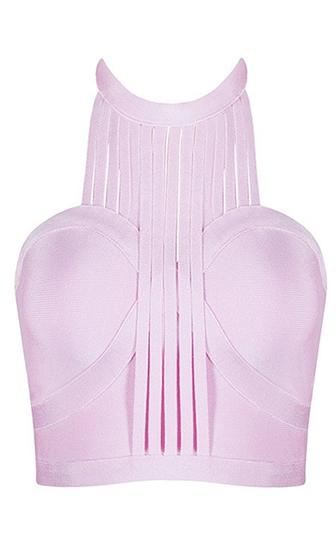 Get Lucky Light Pink Sleeveless Scoop Neck Halter Cut Out Slashed Straps Crop Bandage Tank Top
