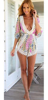 Live by the Sun Pink White Blue Beige Yellow Floral Crochet Trim Short Sleeve V Neck Elastic Waist Short Romper - Sold Out