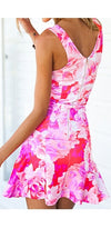 Girly Girl Pink White Floral Sleeveless V Neck Cut Out Ruffle Mini Dress - Sold Out!