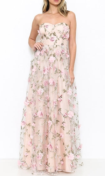 fb256685cb1 Flower Garden Pink Floral Strapless Sweetheart Neck Rose Floral Maxi Dress-  Sold Out