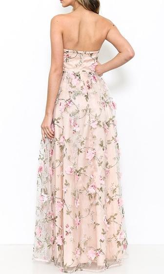 Flower Garden Pink Floral Strapless Sweetheart Neck Rose Floral Maxi Dress-  Sold Out