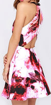 Pink Red Purple White Black Floral Sleeveless Scoop Neck Halter Cut Out Skater Circle A Line Flare Mini Dress- Sold Out