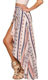 Send My Love Pink White Blue Brown Floral Boho Tie Waist Wrap Maxi Skirt - Sold out
