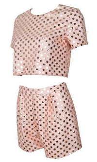 Cruel Summer Pink Gold Sequin Short Sleeve Scoop Neck Crop Top Shorts Two Piece Romper Playsuit - Sold Out