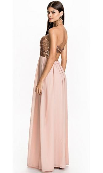 Infinite Wisdom Pink Gold Strapless Sequin Sweetheart Neck Bustier Chiffon Maxi Dress Gown - Sold Out